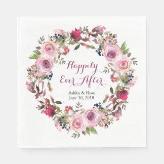 Purple Pink Rose Floral Wreath Wedding Disposable Serviette