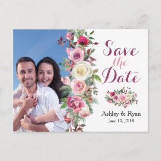 Purple Pink Rose Photo Wedding Save the Date
