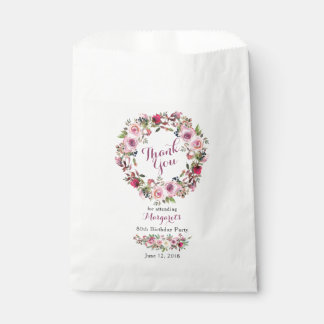 Purple Pink Rose Wreath 80th Birthday Thank You Favour Bag