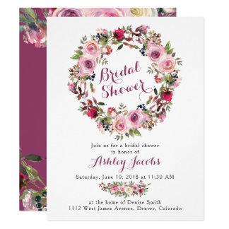 Purple Pink Rose Wreath Bridal Shower Invitation