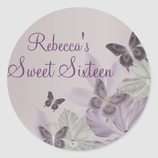 Purple & Pink Shimmer Butterfly Sweet 16 Sticker