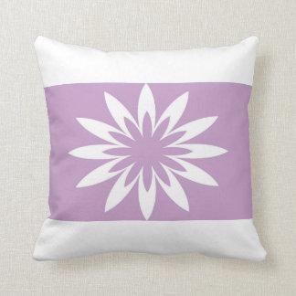 Purple pink star flower throw cushion