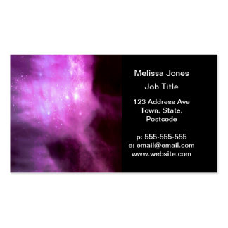 Purple pink stars in space business card templates