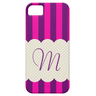 Purple Pink Stripes Polka Dots Monogram iPhone 5 Covers