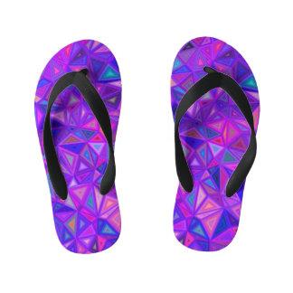 Purple pink tile mosaic kid's thongs