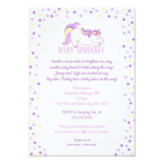 Purple Pink Unicorn Baby Sprinkle invitation
