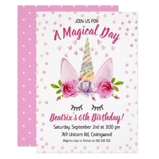 Purple Pink Unicorn Birthday Invitation