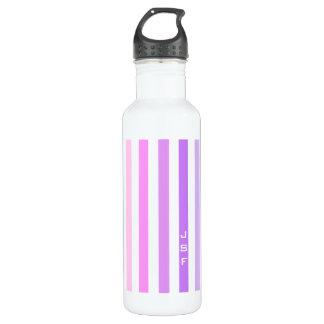 Purple & Pink Vertical Stripes Monogram 710 Ml Water Bottle