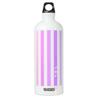 Purple & Pink Vertical Stripes Monogram Water Bottle