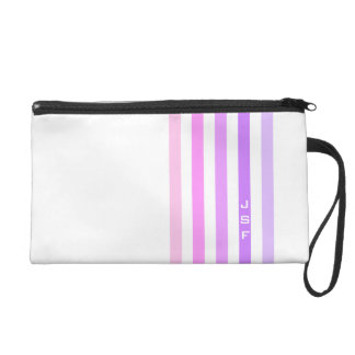 Purple & Pink Vertical Stripes Monogram Wristlet