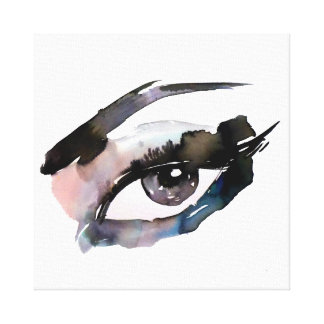 Purple Pink Watercolor eyes lashes makeup branding Canvas Print
