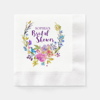 Purple Pink Watercolor Floral Wreath Bridal Shower Paper Napkins