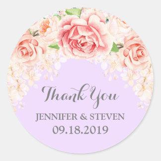Purple Pink Watercolor Flowers Wedding Label Round Sticker