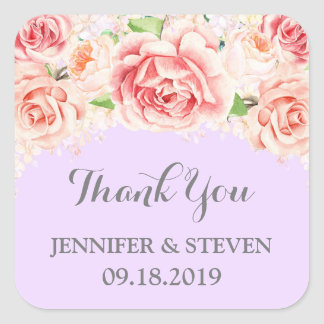 Purple Pink Watercolor Flowers Wedding Label Square Sticker