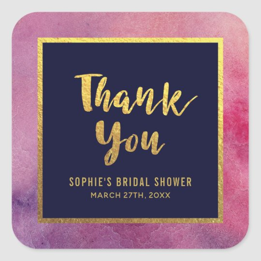 Purple Pink Watercolor Gold Any Event Thank You Square Sticker