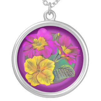 Purple pink yellow spring primrose art necklace