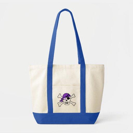 Purple Pirate Crossbones Canvas Bags