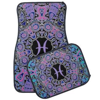 Purple Pisces Mandala Car Mat