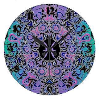 Purple Pisces Mandala Large Clock