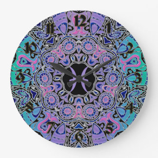 Purple Pisces Mandala Wallclocks