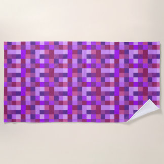 Purple Pixel Squares Abstract Beach Towel