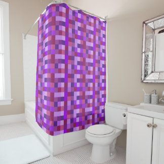 Purple Pixel Squares Abstract Shower Curtain
