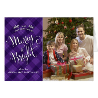 Purple Plaid Christmas Photo Card | Merry & Bright