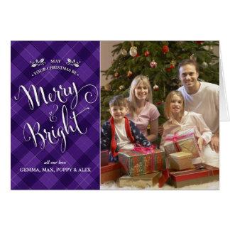 Purple Plaid Christmas Photo Card | Merry & Bright