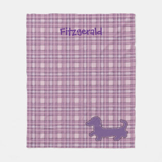 Purple Plaid Dachshund Fleece Blanket