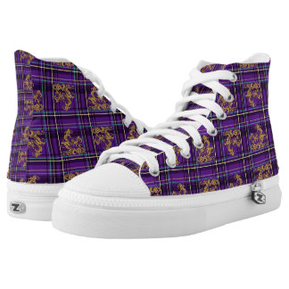 Purple Plaid design Printed Shoes
