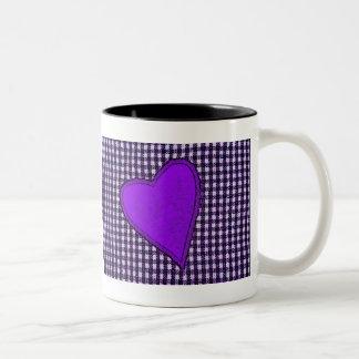 Purple Plaid Heart Coffee Mugs