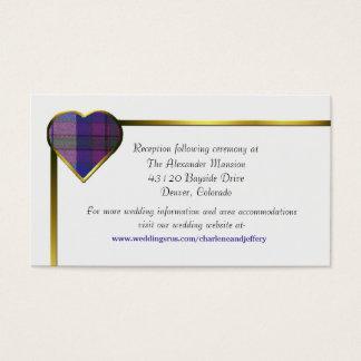 Purple Plaid Heart Wedding Enclosure Card