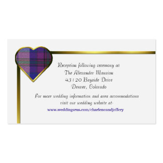 Purple Plaid Heart Wedding Enclosure Card Double-Sided Standard Business Cards (Pack Of 100)