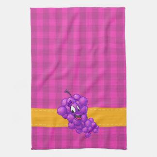 Purple plaid kitchen towel grape cartoon
