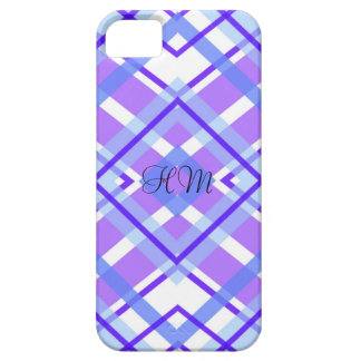 Purple Plaid Monogram Custom Initials Barely There iPhone 5 Case