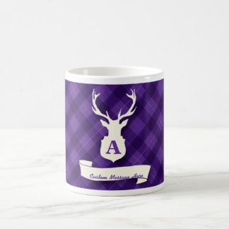 Purple Plaid Mug with Stag Head and Custom Message