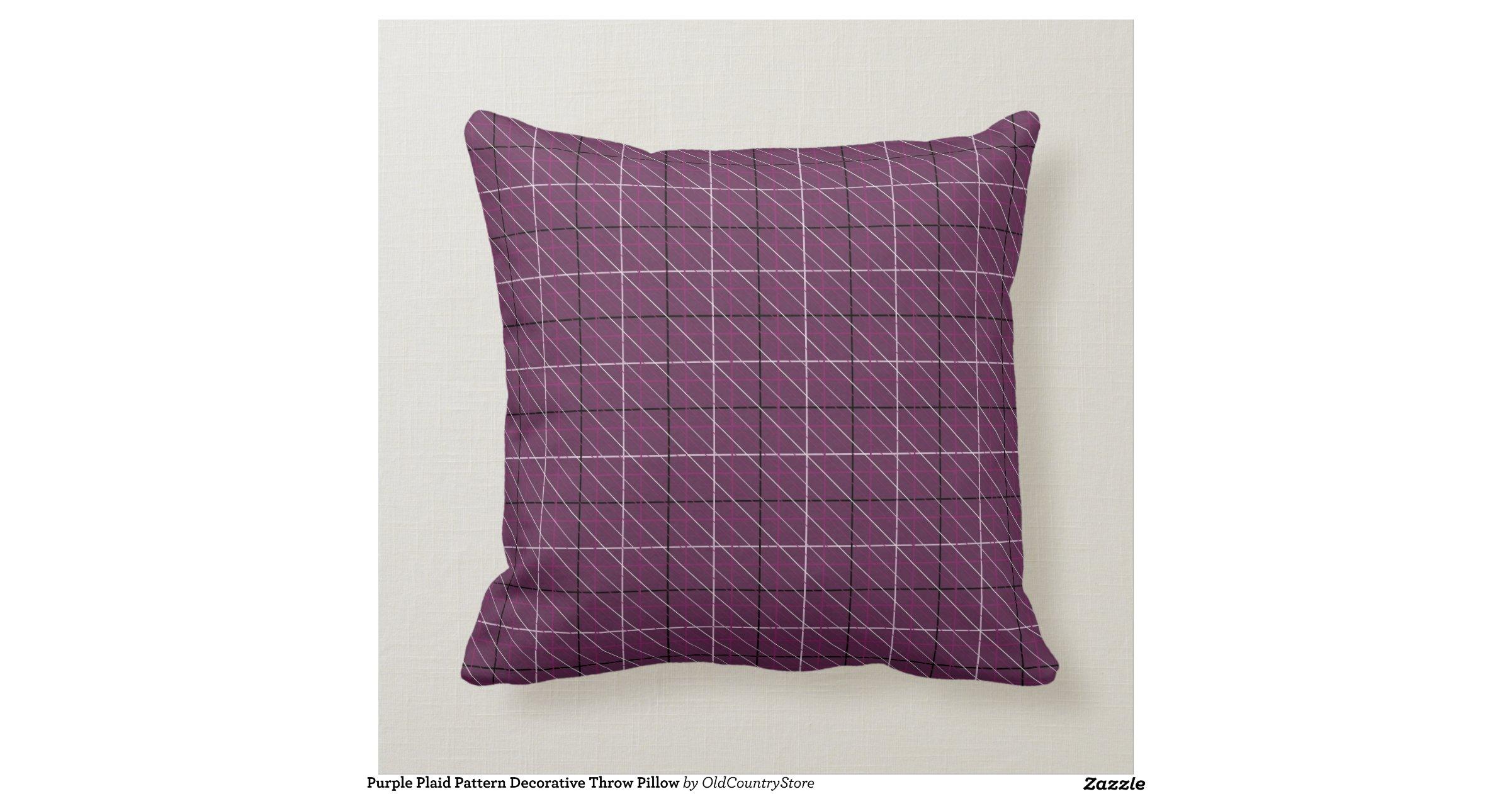Purple Plaid Pattern Decorative Throw Pillow Throw Cushions Zazzle