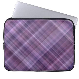 Purple plaid pattern laptop computer sleeve