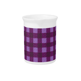 Purple plaid pattern pitcher