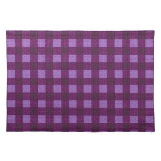 Purple plaid pattern placemat