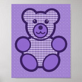 Purple Plaid Teddy Bear Poster