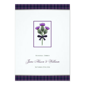 Purple Plaid & Thistle Wedding Rehersal Dinner Card
