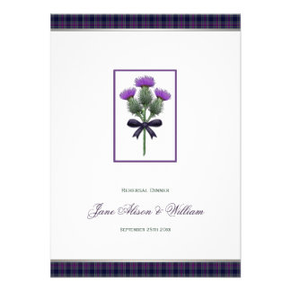 Purple Plaid Thistle Wedding Rehersal Dinner Personalized Announcements