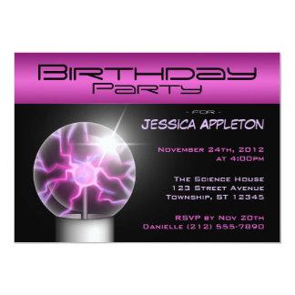 Purple Plasma Ball Birthday Party Invitations