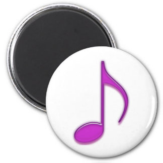 Purple Plastic Looking 8th Musical Note 6 Cm Round Magnet
