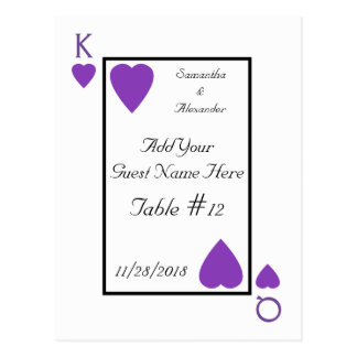 Purple Playing Card King/Queen Table Place Cards