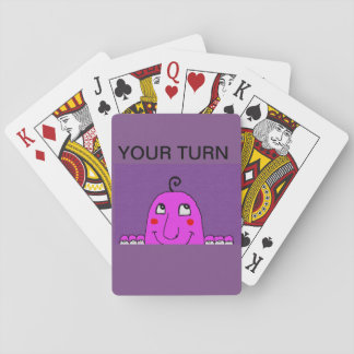 "purple playing cards with ""your turn"" heading"