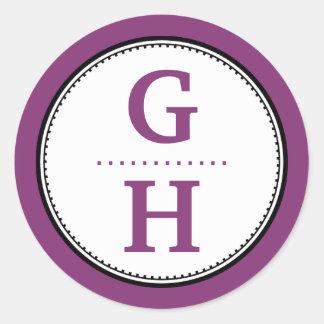 Purple plum 2 initial letter monogram gift tag sticker