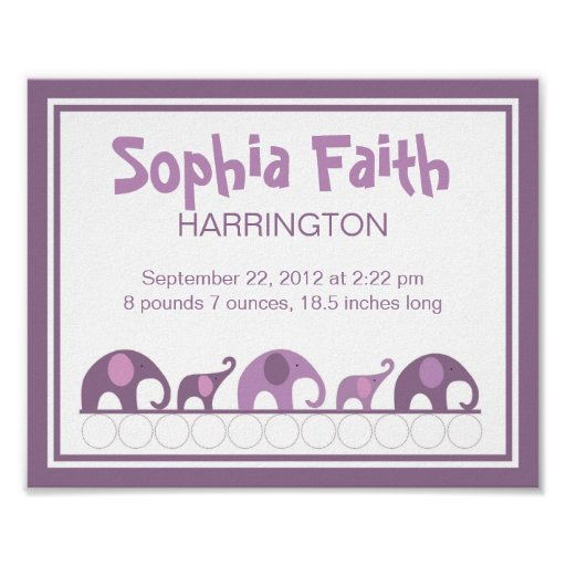 Purple Plum Elephants infant nursery wall art Poster