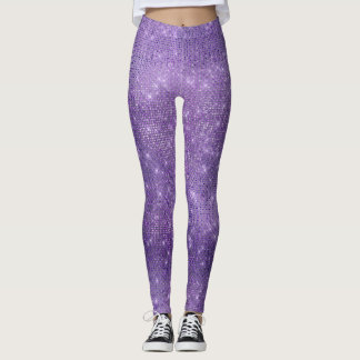 Purple Plum Party Metallic Diamond Sparkly Leggings